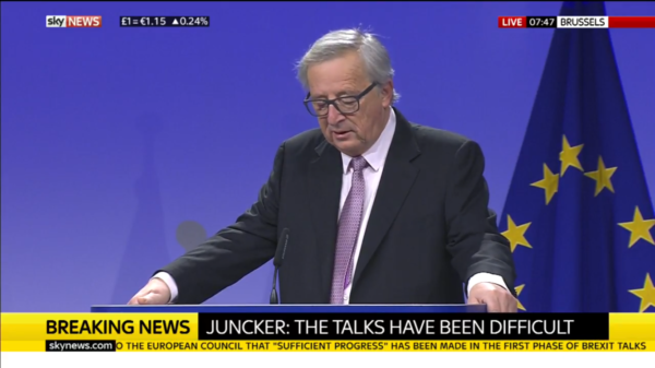 Jean Claude Juncker, President of the European Commission, speaking at the announcement that Brexit negotiations will enter the second phase. (Photo credit: Sky News)