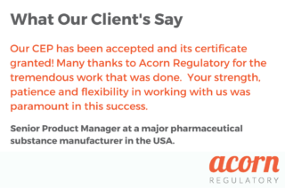Our CEP has been accepted and its certificate granted! Many thanks to Acorn Regulatory for the tremendous work that was done. Your strength, patience and flexibility in working with us was paramount in this success.